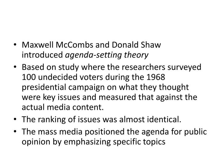 Maxwell McCombs and Donald Shaw introduced