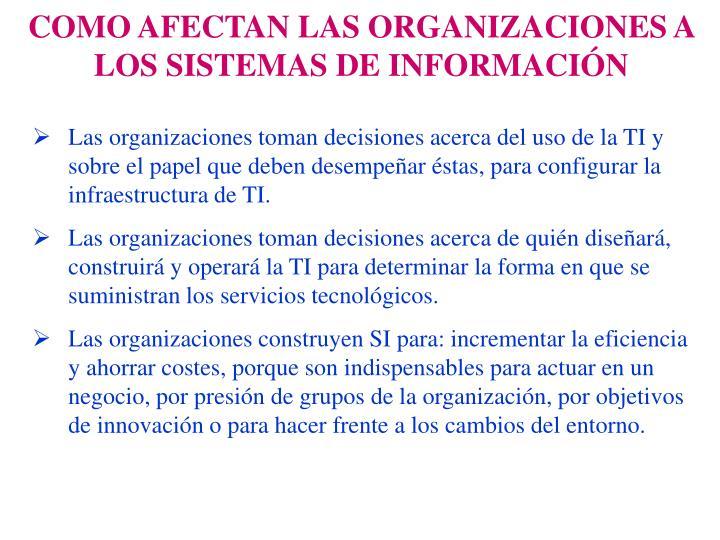 COMO AFECTAN LAS ORGANIZACIONES A LOS SISTEMAS DE INFORMACIÓN