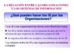 la relaci n entre las organizaciones y los sistemas de informaci n
