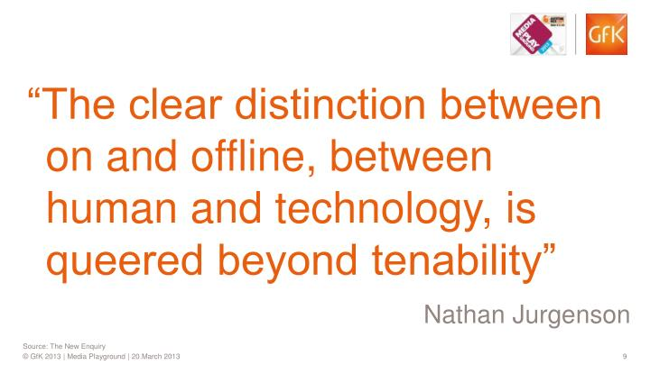 """""""The clear distinction between on and offline, between human and technology, is queered beyond tenability"""""""