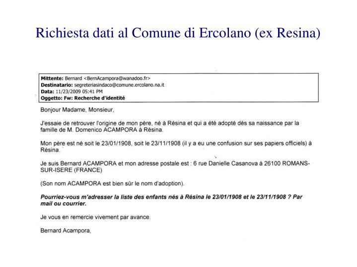 Richiesta dati al Comune di Ercolano (ex Resina)