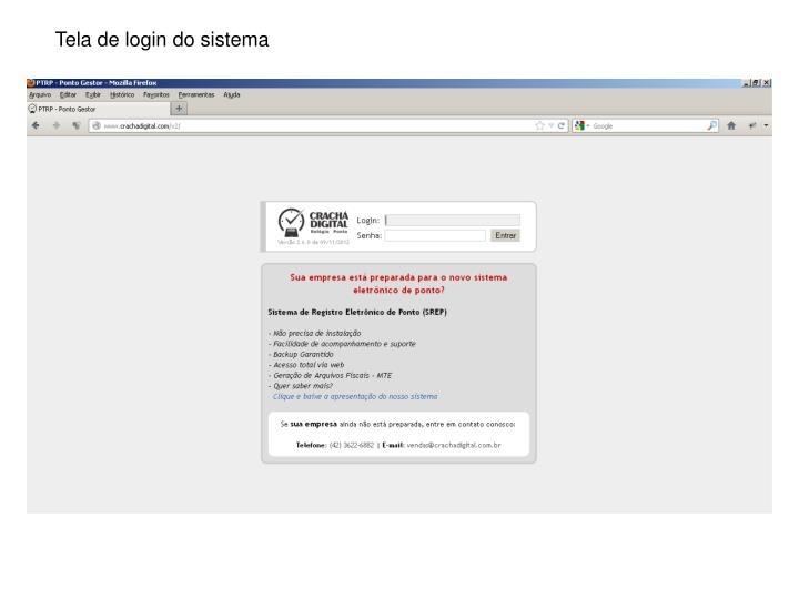 Tela de login do sistema