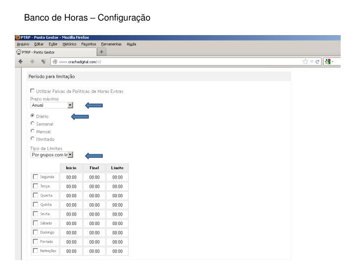 Banco de Horas – Configuração
