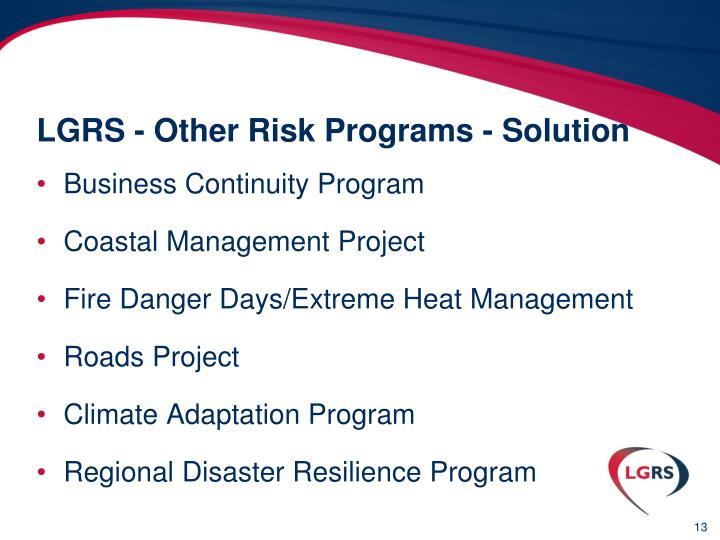LGRS - Other Risk Programs - Solution