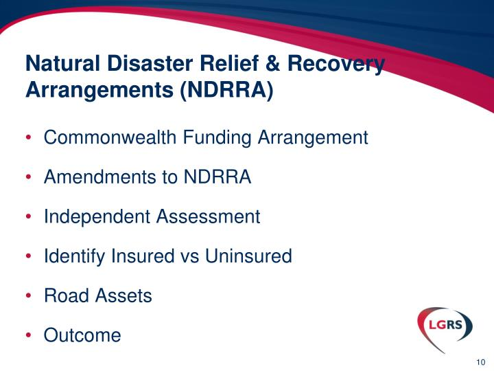 Natural Disaster Relief & Recovery Arrangements (NDRRA)
