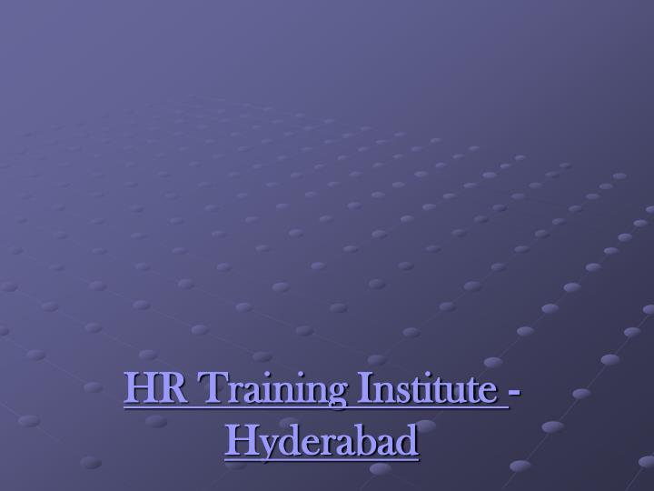 Hr training institute hyderabad