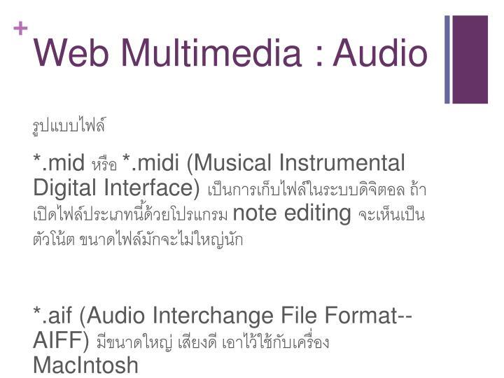 Web Multimedia : Audio