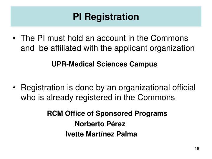 PI Registration