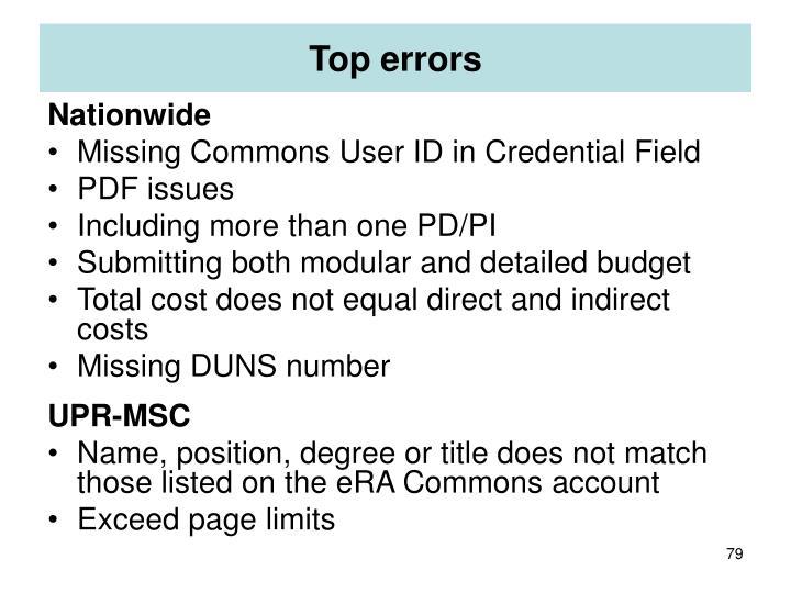 Top errors