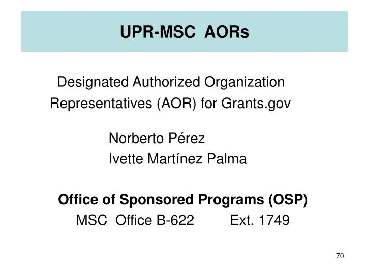 UPR-MSC  AORs