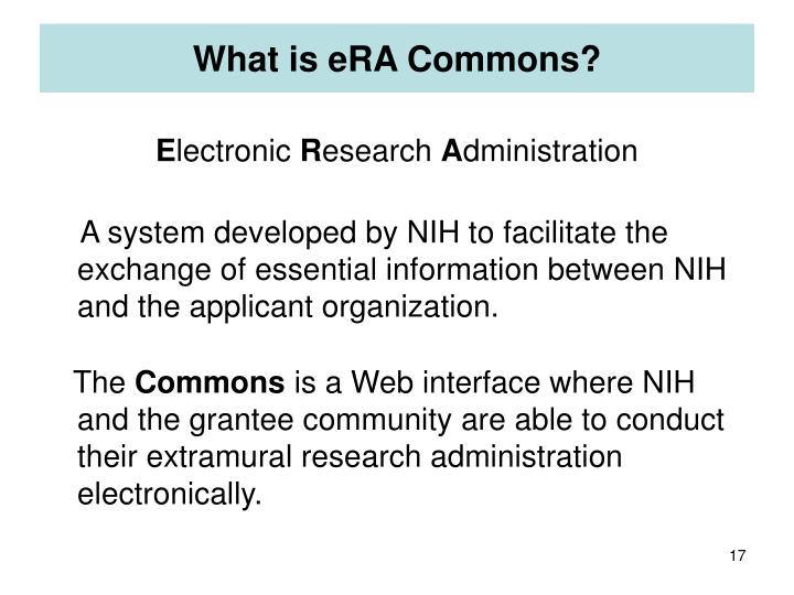 What is eRA Commons?