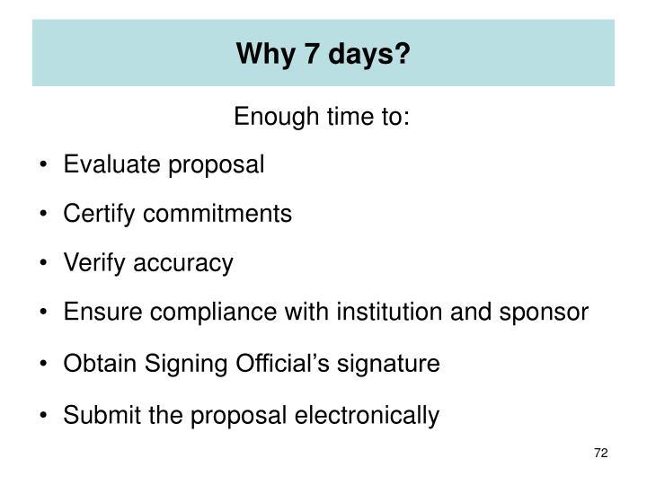Why 7 days?