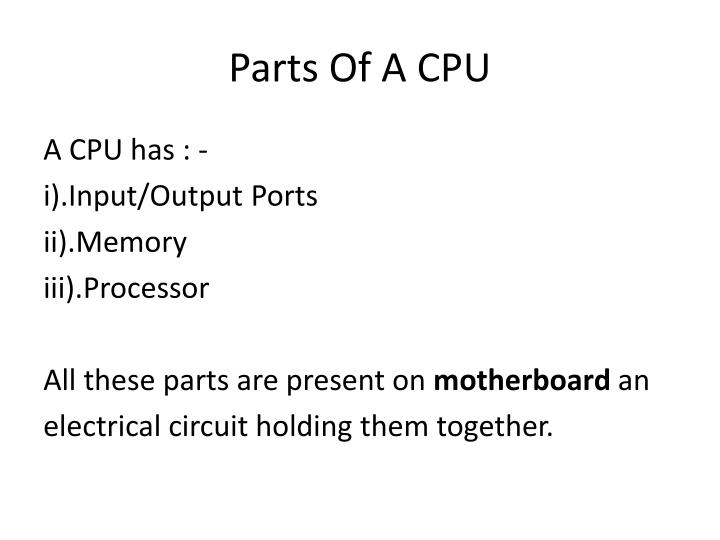 Parts Of A CPU