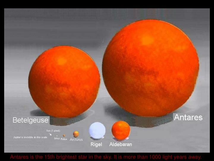 Antares is the 15th brightest star in the sky. It is more than 1000 light years away.