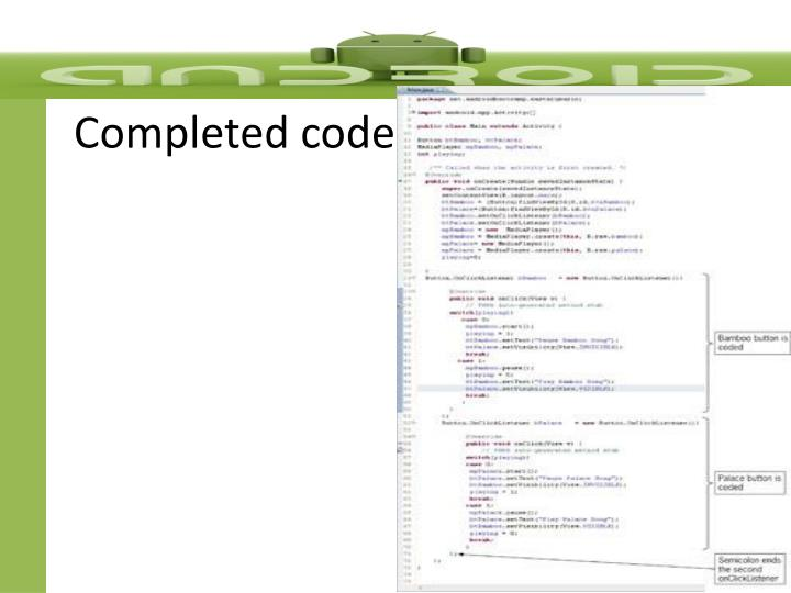 Completed code