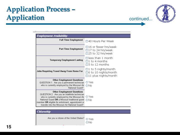 Application Process –