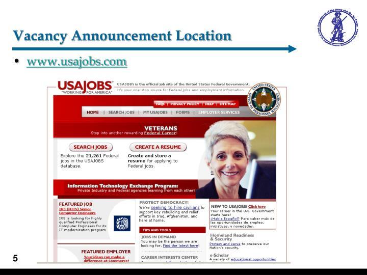 Vacancy Announcement Location