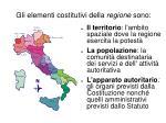 gli elementi costitutivi della regione sono