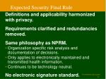 expected security final rule