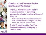 creation of the five year review identification workgroup3
