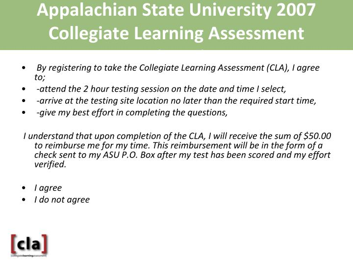 Appalachian State University 2007 Collegiate Learning Assessment Registration