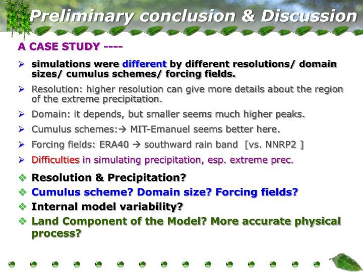 Preliminary conclusion & Discussion