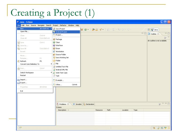 Creating a Project (1)