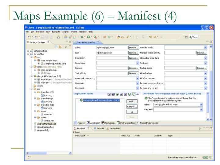 Maps Example (6) – Manifest (4)