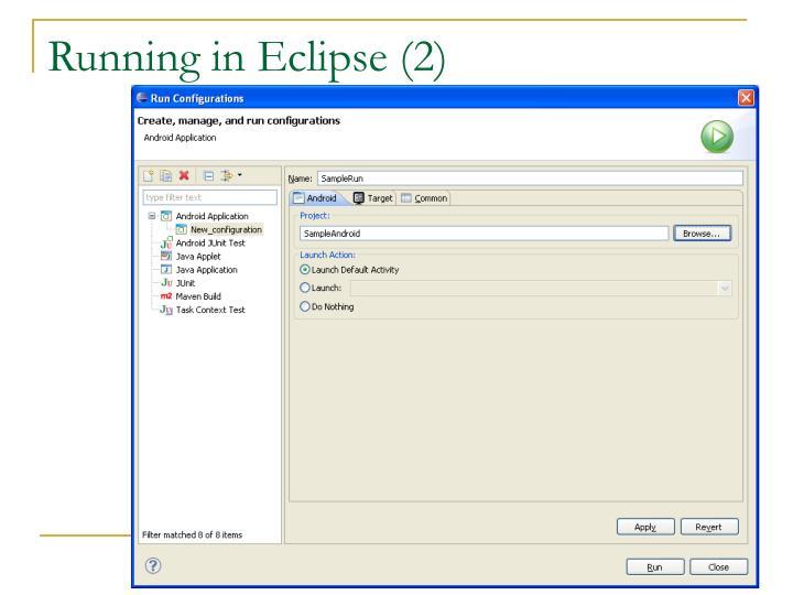 Running in Eclipse (2)