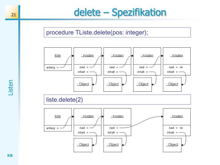 delete – Spezifikation
