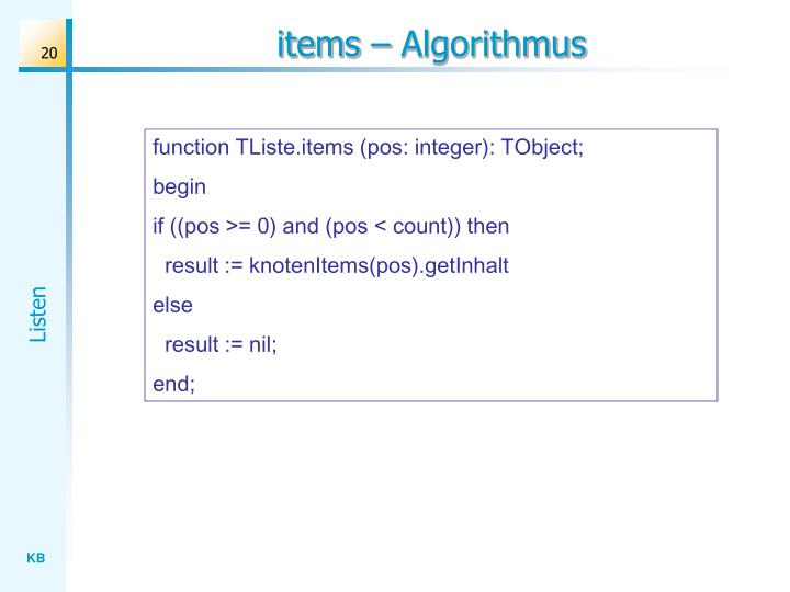 items – Algorithmus