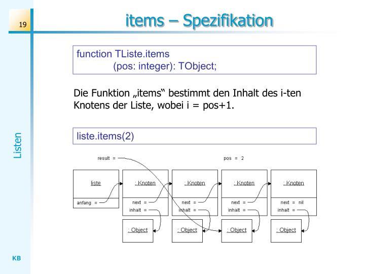 items – Spezifikation