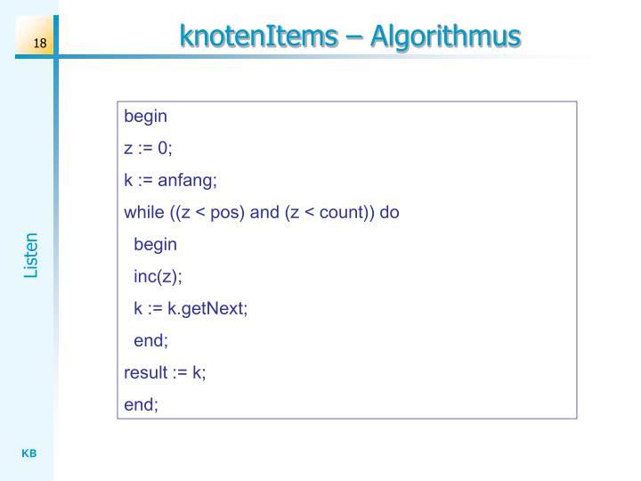 knotenItems – Algorithmus