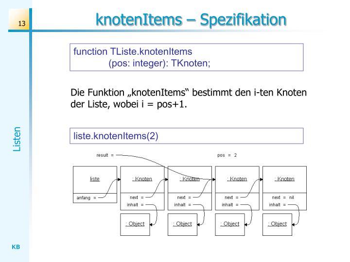 knotenItems – Spezifikation