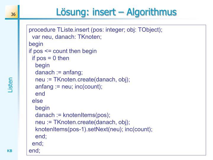 Lösung: insert – Algorithmus