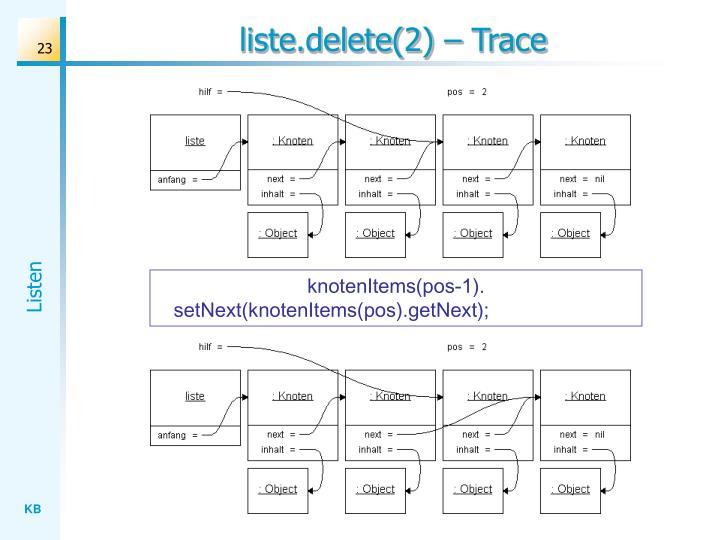 liste.delete(2) – Trace