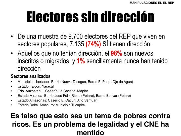 Electores sin dirección