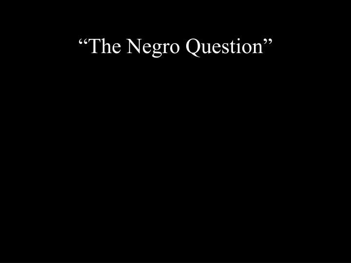 """The Negro Question"""
