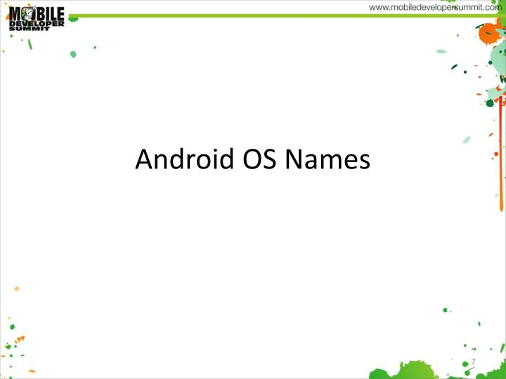Android OS Names