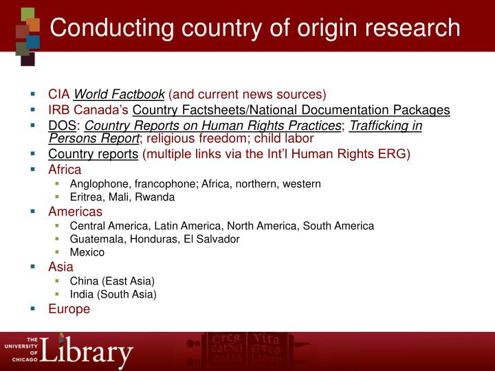 Conducting country of origin research