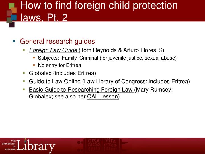 How to find foreign child protection laws, Pt. 2