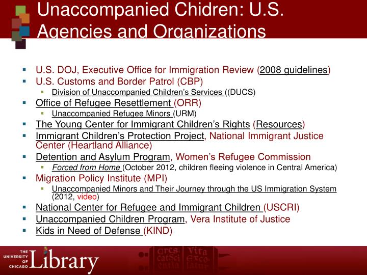 Unaccompanied chidren u s agencies and organizations