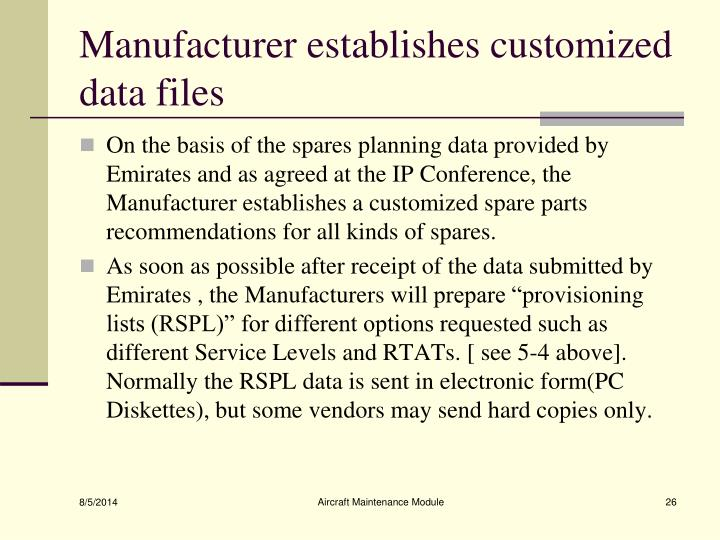Manufacturer establishes customized data files