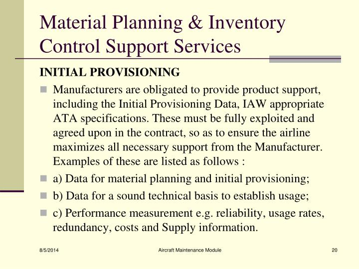 Material Planning & Inventory Control Support Services