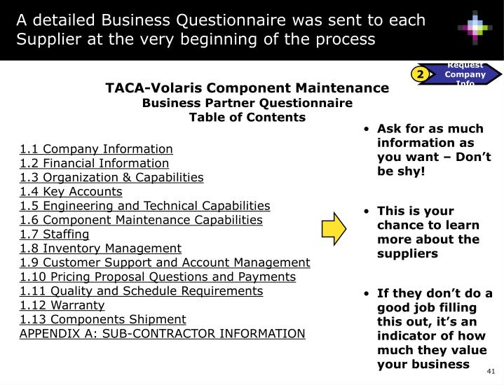 A detailed Business Questionnaire was sent to each Supplier at the very beginning of the process