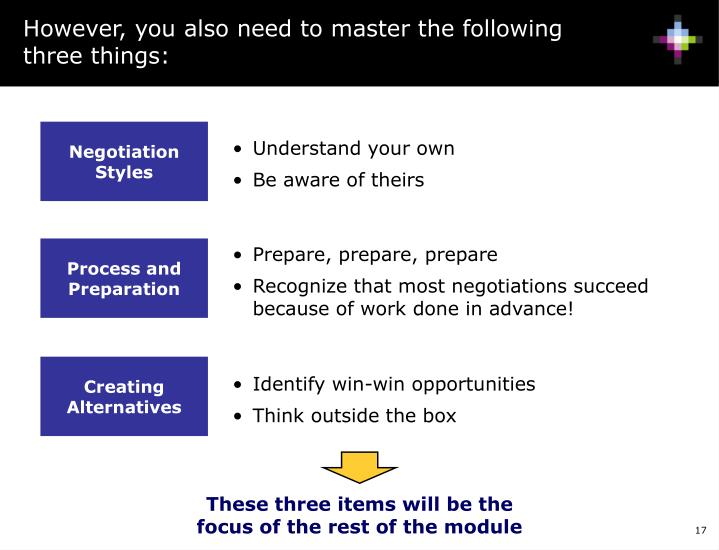 However, you also need to master the following three things: