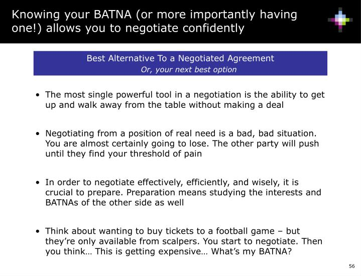 Knowing your BATNA (or more importantly having one!) allows you to negotiate confidently