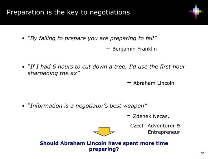 Preparation is the key to negotiations