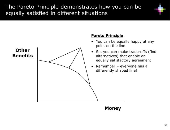 The Pareto Principle demonstrates how you can be equally satisfied in different situations