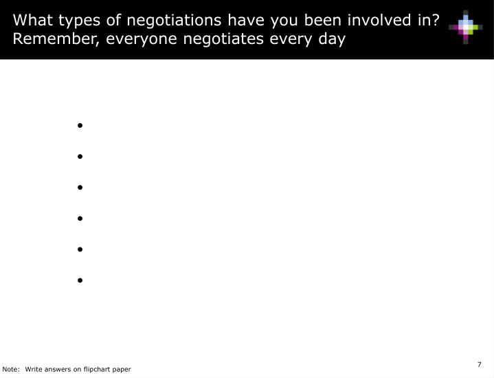 What types of negotiations have you been involved in? Remember, everyone negotiates every day